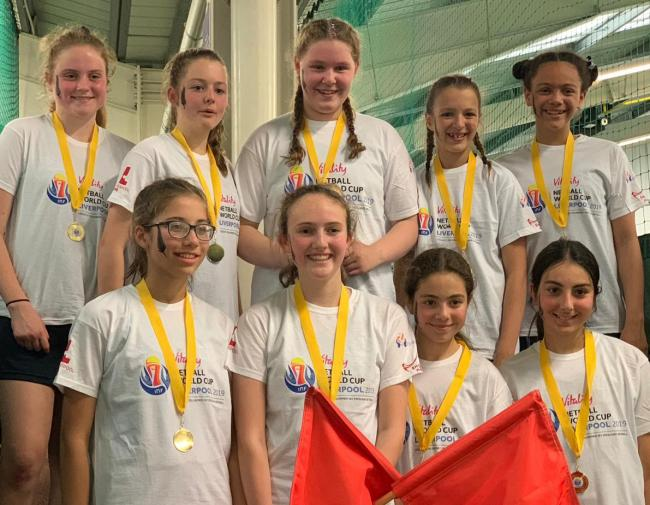 Alderley Edge School for Girls netball winners. From left, back, Tess Fallows, Ruby Ogden, Bea Wilshaw, Sascha Smith, Rhianna Donatian; front, Constance Gooda, Lucy Sherville-Payne, Sara Chammout, Marya Zin-Abidine.
