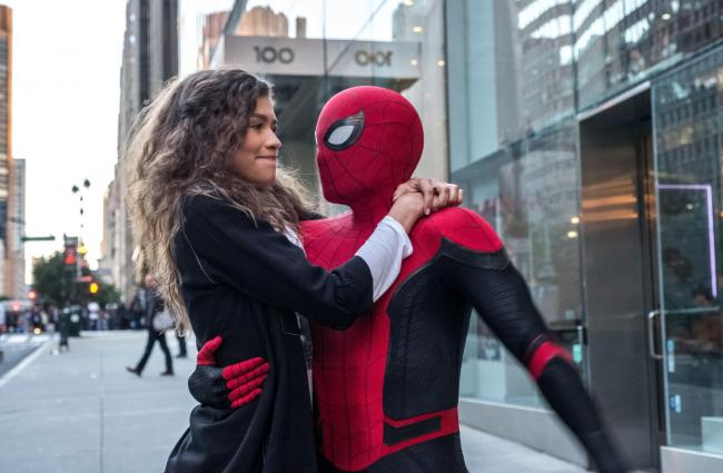 Zendaya as MJ and Tom Holland as Spider-Man