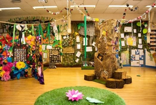 The hall is transformed into a forest