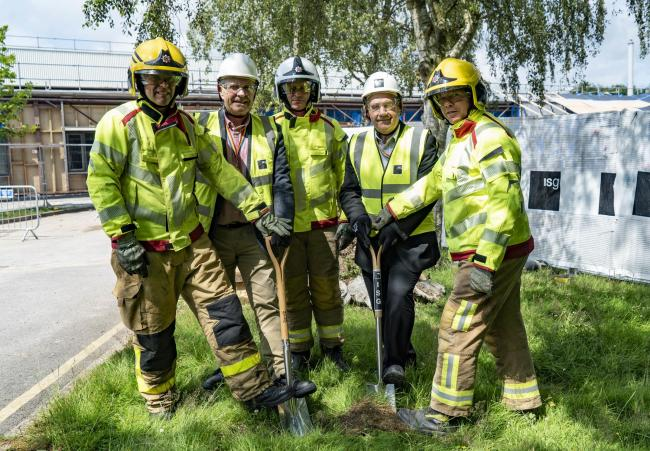 Crew manager Darren Hickson, Cllr Bob Rudd chairman Cheshire Fire Authority, watch manager Lee Cliff, Cllr Stef Nelson deputy chairman Cheshire Fire Authority and firefighter Jon Stockley
