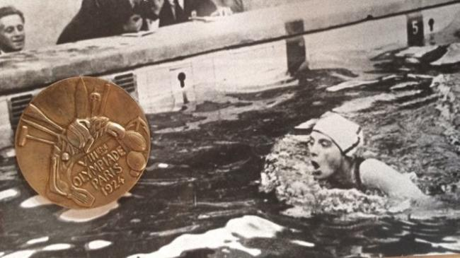 Lucy Morton's Gold medal from the 1924 Paris Games. Picture from Hansons.