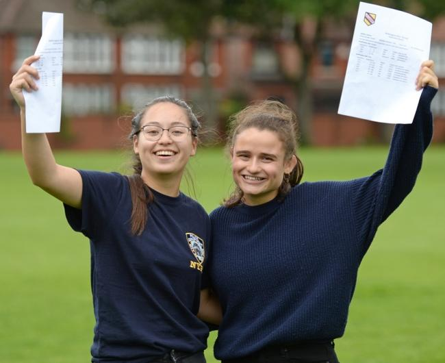 Katy Stonehouse, left, and Jemima Laniado celebrate their A-Level results