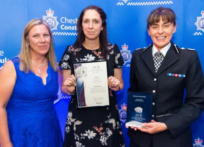 PCSO Emma Darroch, centre, receives her award from Kath Sprosson from category sponsor CTM, left, and Deputy Chief Constable Julie Cooke