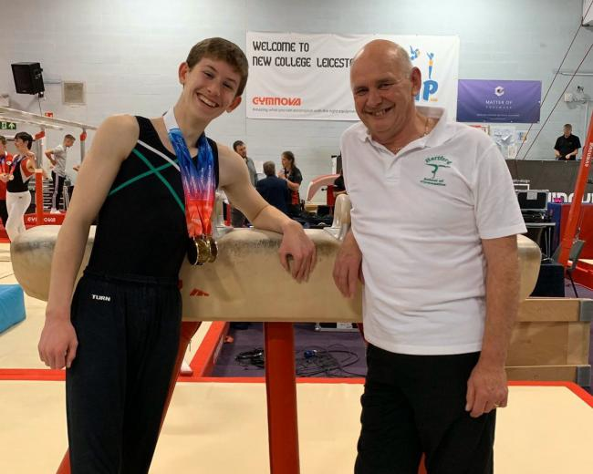 Newly crowned British champion Charlie Welsh, 14, and his Hartford School of Gymnastics coach Charlie Oakes