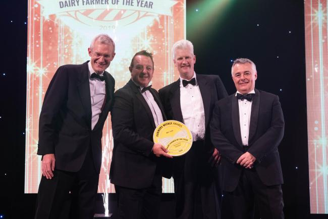 From left, Host Jeremy Vine, Ray McNally of sponsor Armatrac, winner Will Frost, Farmers Weekly Editor Karl Schneider