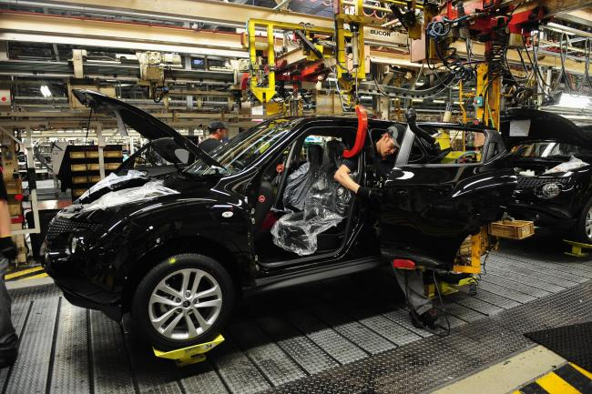 Workers building a Nissan Juke at the Japanese giant's Sunderland factory
