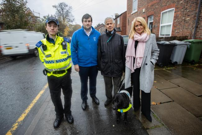 Esther McVey with Mr Rigg, PCSO James Morris and Adam Marsh from the Atherton Guide Dog training centre