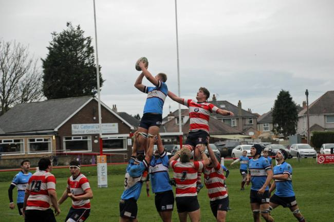 Seb Pemberton takes lineout ball for Wilmslow Wolves in an away win against Vale of Lune on Saturday