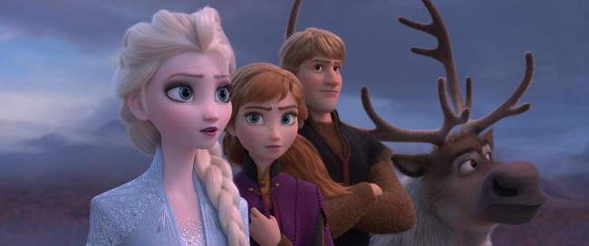 Elsa, Anna, Kristoff and Sven the reindeer