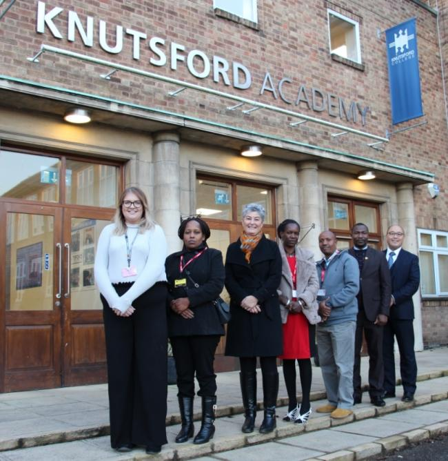 Egerton Primary headteacher Alison Hooper with Kenyan visitors and Knutsford Academy teachers