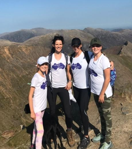 From left, Annabelle and Katie Jordan, Nicole and Sadie Sawer on Mount Snowdon