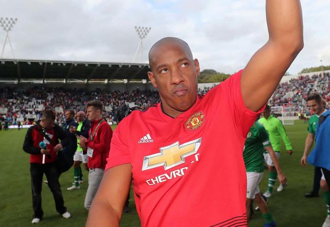 Manchester United Legends' Dion Dublin celebrates scoring the winning penalty in the shoot-out during the Liam Miller tribute match at Pairc Ui Chaoimh, Cork, on September 25, 2018. Picture: Niall Carson/PA Wire