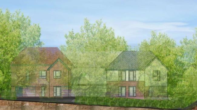 An artist's impression of how the care home could look from Handforth Road, with trees sheltering parts of the site from view