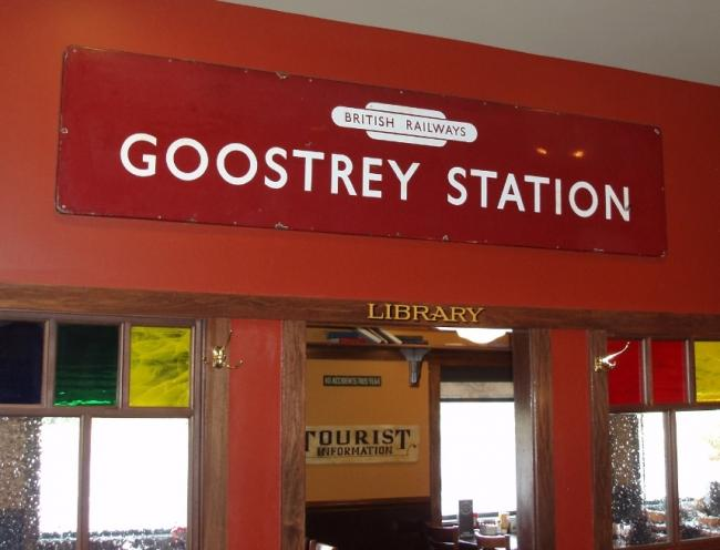 The British Railway sign for Goostrey displayed inside Max and Erma's diner