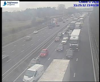 Traffic is building up following a crash on the M6 southbound