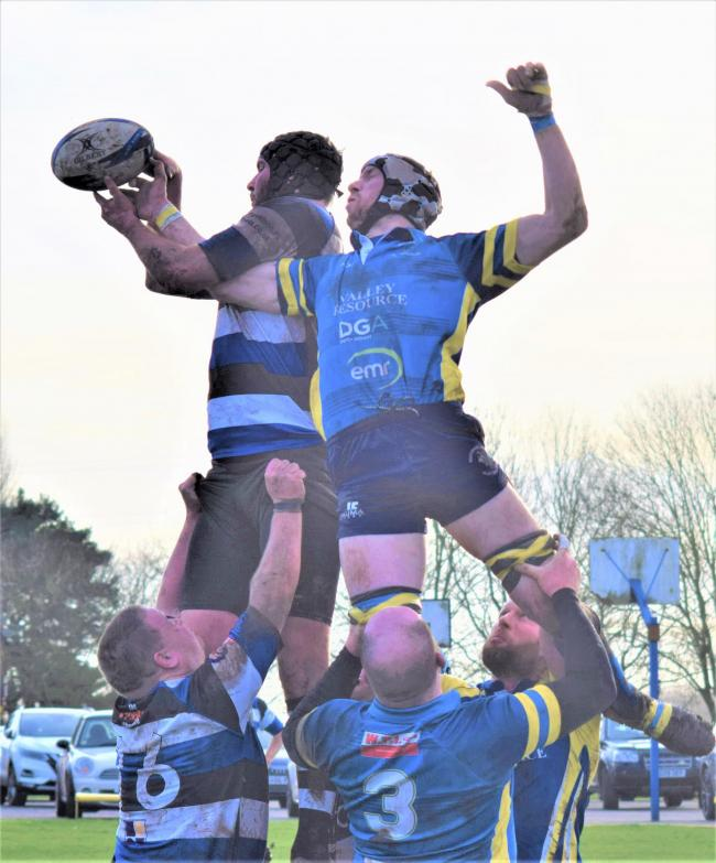 Jack Field making a nuisance of himself at the lineout. Picture: Tony Evans