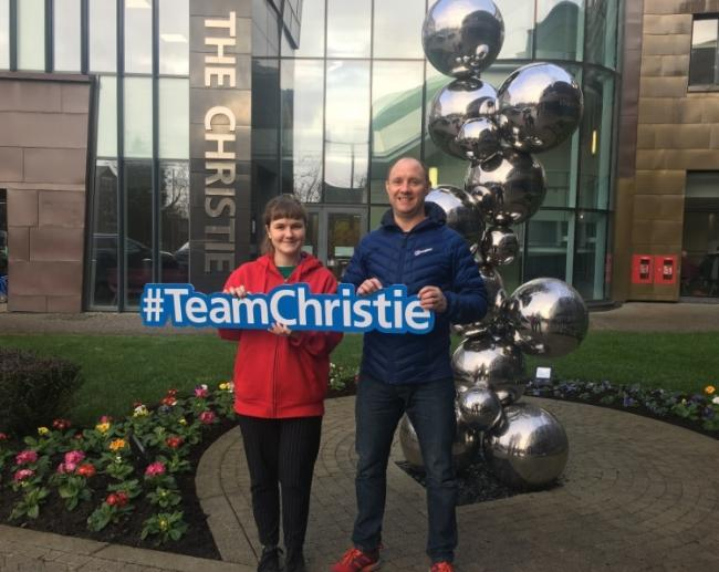 Imogen Healing from The Christie charity and Adrian Fuller from the Wilmslow Triathlon