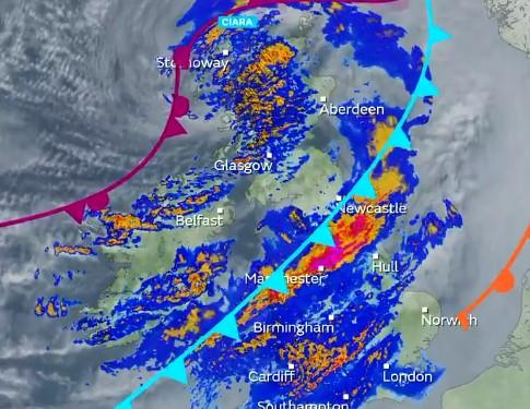Storm Ciara sweeps across town with heavy rain and severe gales. Credit: Met Office