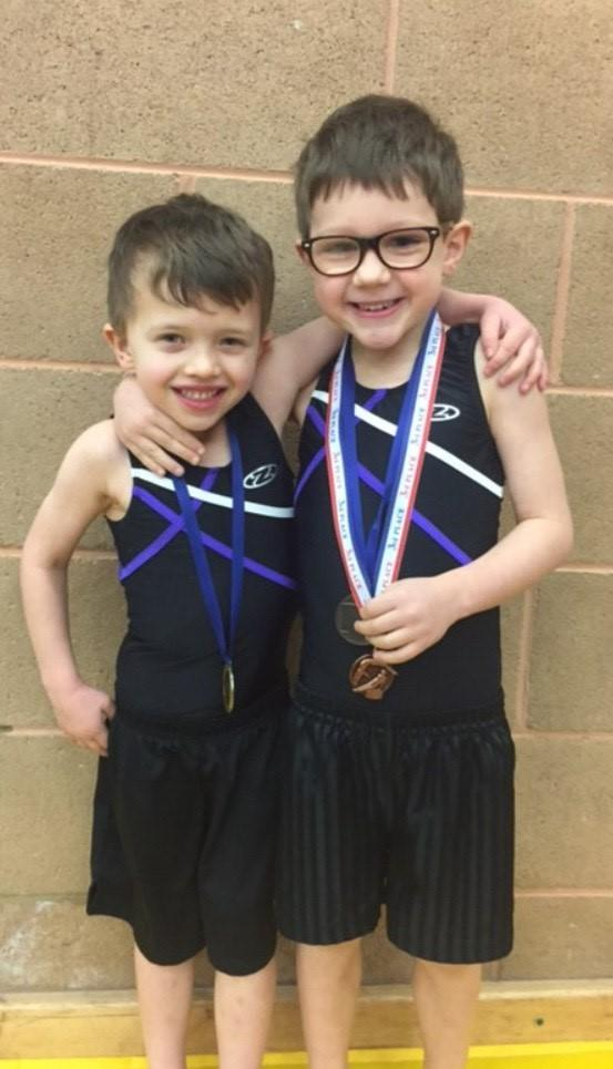 Gymfinity pair, Joshua Gill and Xander Williams with their medals from competing in the floor and vault competition held in Lymm