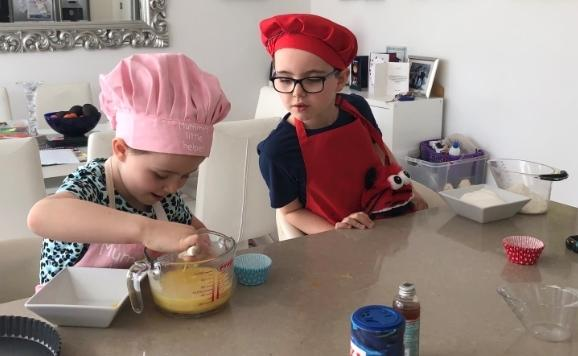 Young chefs at work at home