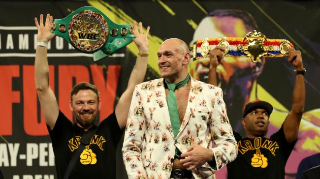 Tyson Fury during the post-fight press conference at the MGM Grand, Las Vegas last month. Picture: Bradley Collyer/PA Wire.