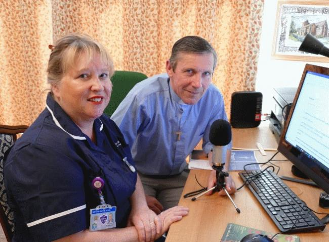 Paul in his study with his wife Angela, a cardiac nurse at Stepping Hill Hospital