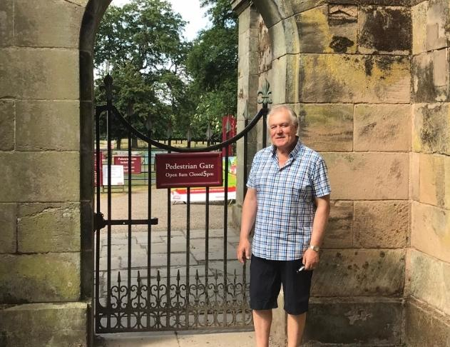 Cllr Dean outside the pedestrian entrance