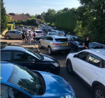 Parking chaos caused by lake visitors. Pictures submitted by Pickmere Parish Council