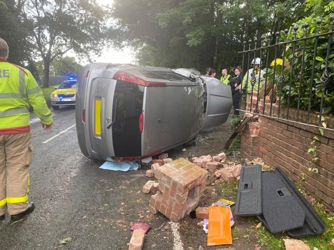 A woman in her early 20s had a lucky escape after her car hit a wall in Knutsford Road, Mobberley Picture: Cheshire Fire and Rescue