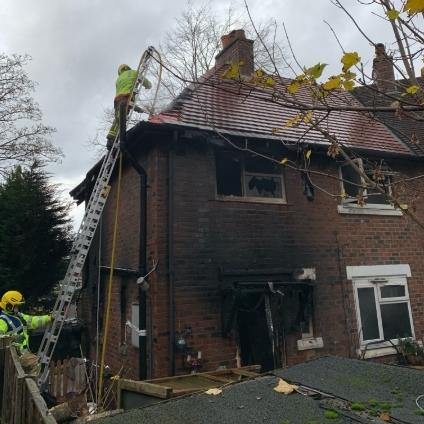 The fire-damaged house. Picture from Cheshire Fire and Rescue Service