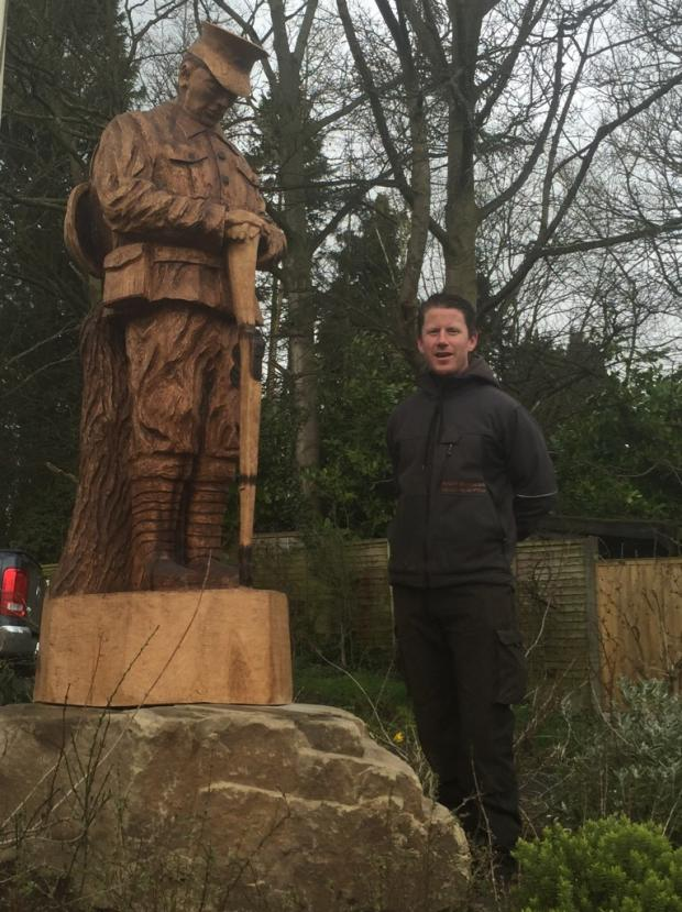 Knutsford Guardian: Andy's sculpture of war hero Private Alfred Wilkinson.