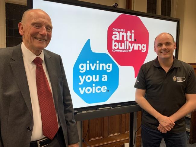 From left: Alan Yates, chairman of the Cheshire Anti-Bullying Commission, and PCC David Keane