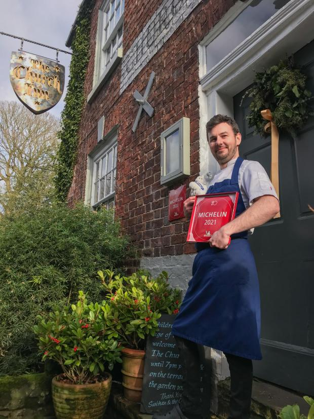 Knutsford Guardian: Richard Williams, Head Chef at The Church Inn which has been awarded a prestigious Michelin Plate for the sixth consecutive year.