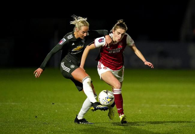 Millie Turner, left, in action for Manchester United against Arsenal earlier this month. Picture by PA Wire