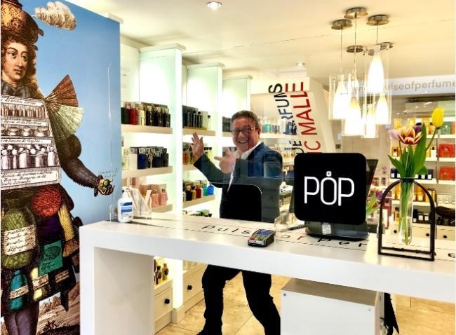Peter Pulses partner Melanie Seddon has designed a bespoke screen to ensure the safety of customers at Pulse of Perfumery