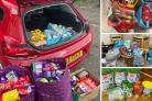 A variety of donations that have helped the team at Bagillt Food Hub create food packages locally.