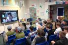 The Year 6 children from Mobberley Primary School taking part in a Zoom call with evacuee Valerie Ingram.