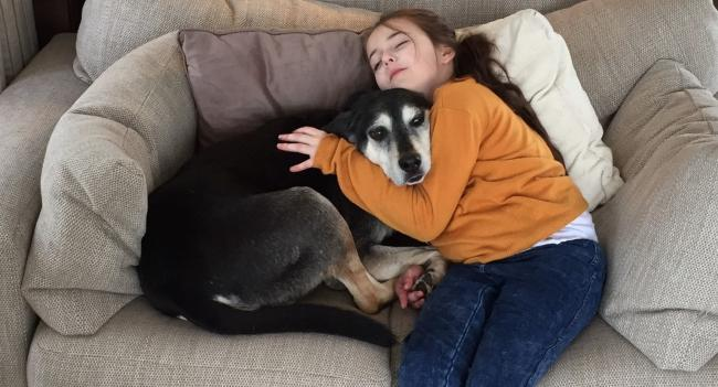 Amelia with rescue dog storm
