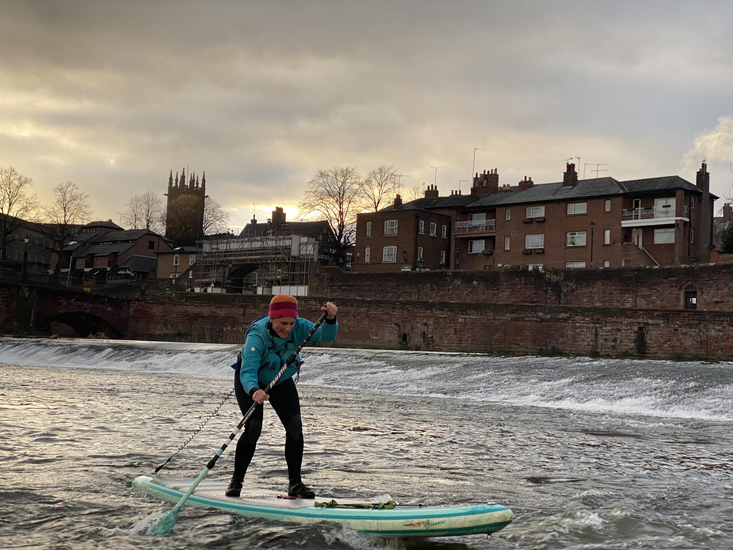 Paddleboarding on the River Dee, Chester.