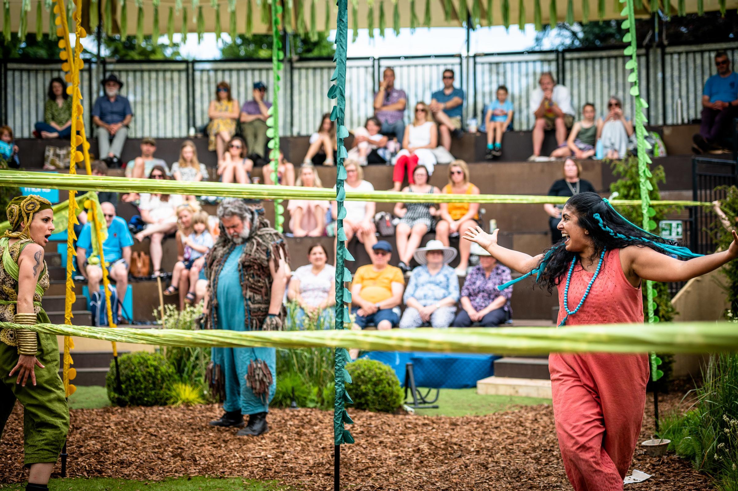 Grosvenor Park Open Air Theatre: Jungle Book-Suzanne Ahmet as Kaa, Howard Chadwick as Baloo, Purvi Parmar as Mowgli.