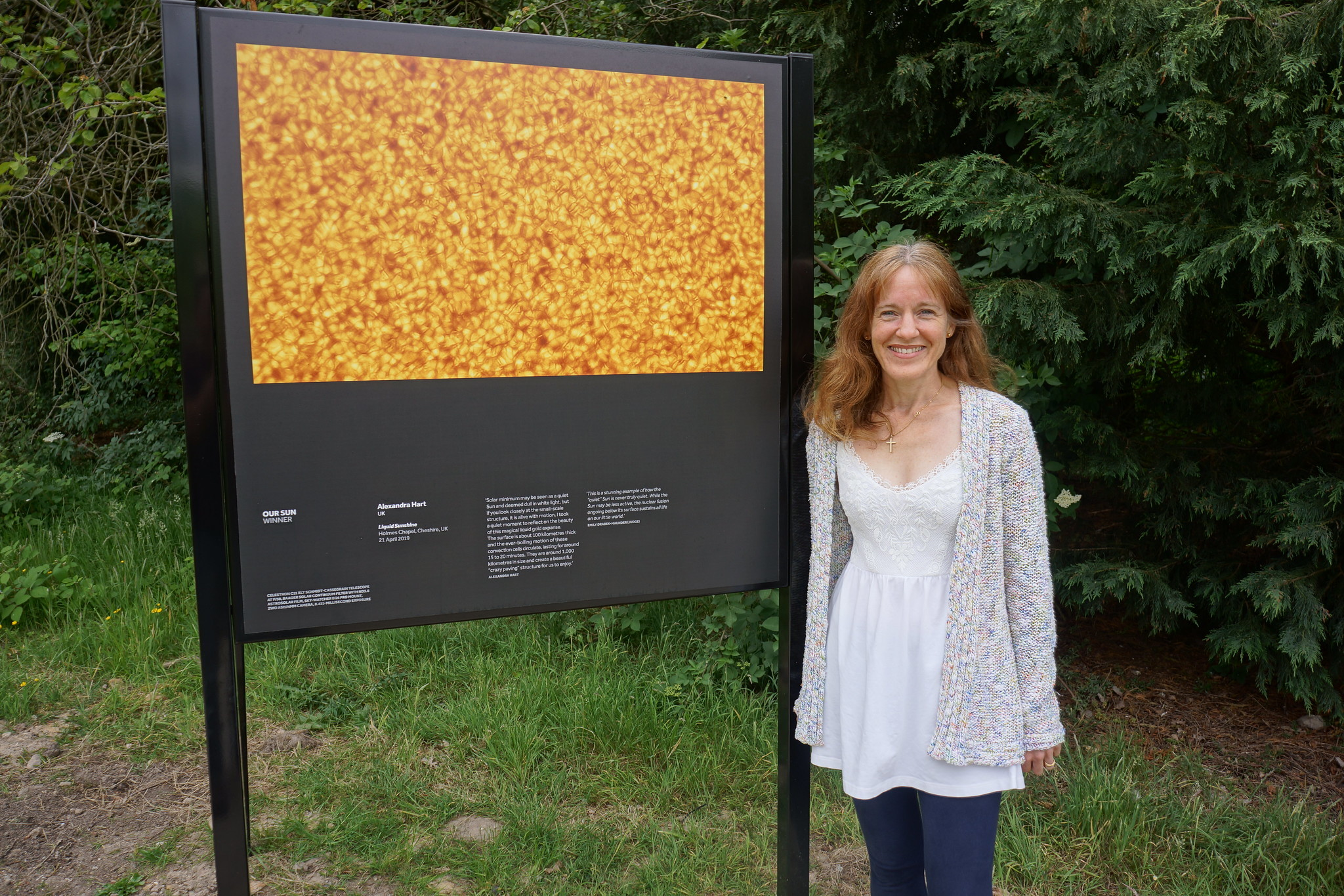 Royal Observatory Greenwichs exhibition: Alexandra Hart with her exhibition image at Jodrell Bank.