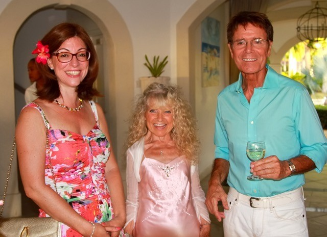Editor Catherine Mason, Janice Sylvia Brock and Sir Cliff Richard at the launch of her book My Life on Canvas
