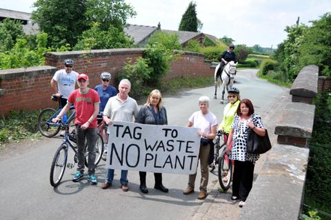Residents protesting against the biogas facility at Twemlow in 2012.