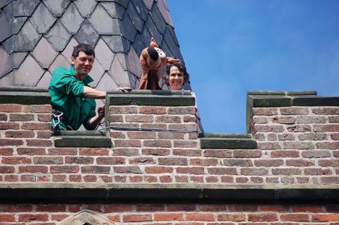 Sue Roycroft, as Scooby Doo, on the roof with Colin Brooks
