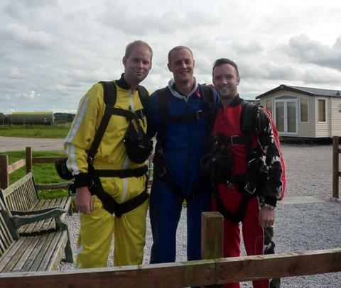 Richard Leece, Tim Irlam and Tom Slater from Gascoigne Halman prepare for the skydive