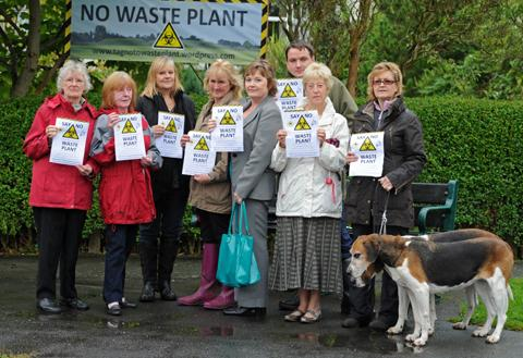 Residents protest over plans to site a biogas plant near the village                                              PH210912-1e