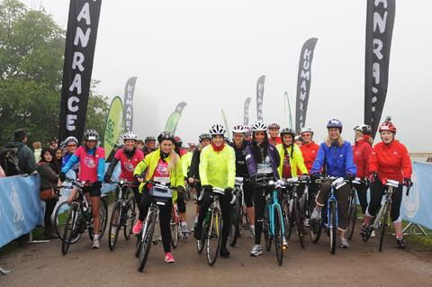 Victoria Pendleton, centre, lines up with the other cyclists at Tatton Park
