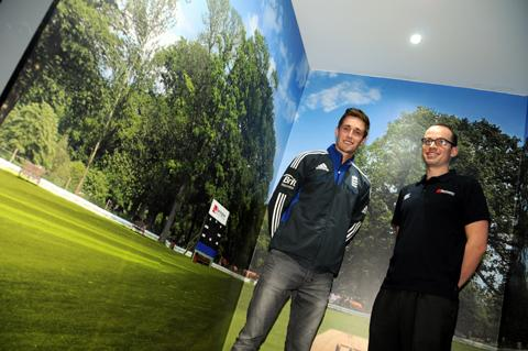 England cricketer Chris Woakes with Barrington director Tom Dolby 	n124236