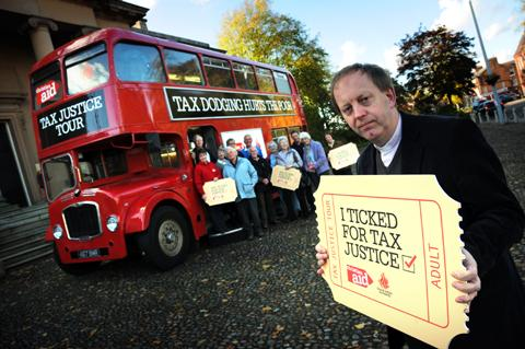 Rev Rob Cotton from Knutsford Methodist Church outside the bus that parked up in Knutsford