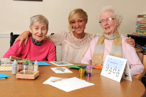 Former popstar Lucy Meggitt with Mavis Monks and Doreen Howlett